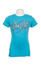 Cowgirl Hardware Girl's Turquoise Vintage Tee Short Sleeve Casual Shirt