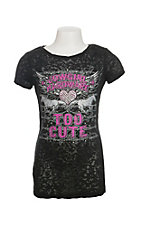 Cowgirl Hardware Girl's Black Too Cute Short Sleeve Casual Knit Top
