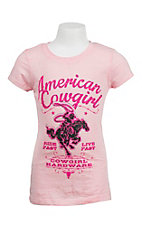 Cowgirl Hardware Pink with American Cowgirl Print Short Sleeve Burnout Tee