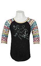 Cowgirl Hardware Girl's Black with Rhinestud Horse & Bubble Hearts Aztec 3/4 Raglan Sleeve Top