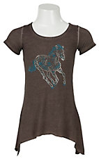 Cowgirl Hardware Girl's Vintage Brown with Rhinestud Horse Short Sleeve Tunic