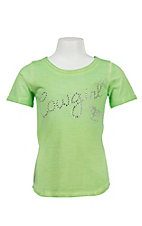 Cowgirl Hardware Girl's Lime Green Rhinestone Cowgirl Hi/Lo Short Sleeve Tee