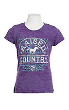 Cowgirl Hardware Girl's Purple Burnout with White, Blue, and Black Screen Print Design Short Sleeve T-Shirt