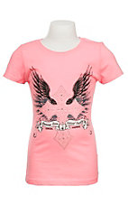 Cowgirl Hardware Girl's Neon Pink with Rhinestone Cross with Angel wings Short Sleeve T-Shirt