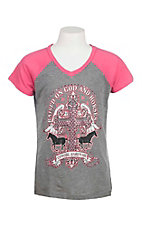 Cowgirl Hardware Girl's Grey with Raised on God and Horses Screen Print and Pink Short Sleeves Casual Knit Top