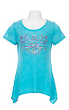 Cowgirl Hardware Girl's Turquoise with Embroidered Design Short Sleeve Casual Knit Top