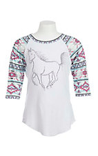 Cowgirl Hardware Girl's White with Studded Horse and Aztec 3/4 Sleeves Casual Knit Shirt