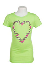 Cowgirl Hardware Girl's Neon Green with Purlple and Pink Horse Heart Screen Print Short Sleeve Casual Knit Top