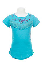 Cowgirl Hardware Girl's Turquoise with Embroidered Horse and Fringe Detail Short Sleeve Shirt