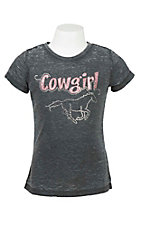Cowgirl Hardware Girl's Charcoal with Cowgirl Sparkle and Horse on Front SHort Sleeve T-Shirt