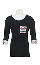 Cowgirl Hardware Girl's Black with Aztec Print Details 3/4 Sleeves Casual Knit Shirt