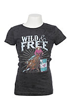 Cowgirl Hardware Girls Black Burnout Barrel Horse Wild and Free Short Sleeve Tee