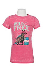 Cowgirl Hardware Girls Pink Wild & Free Short Sleeve T-Shirt