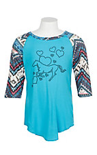 Cowgirl Hardware Girls Turquoise Horse & Hearts w/ Printed Raglan Sleeves Shirt