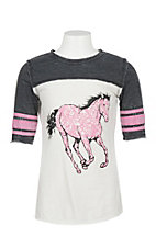 Cowgirl Hardware Girls White, Grey and Pink Horse Graphic Shirt