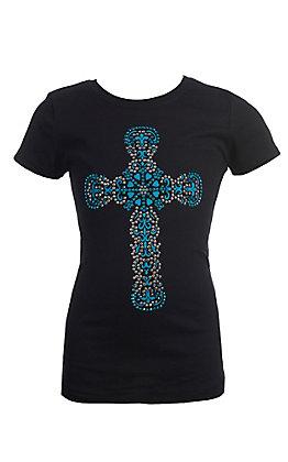 Cowgirl Hardware Black Turquoise Heart Cross Short Sleeve T-Shirt