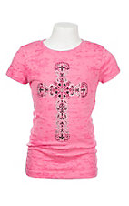Cowgirl Hardware Girls Burnout Pink Studded Heart Cross Short Sleeve Tee