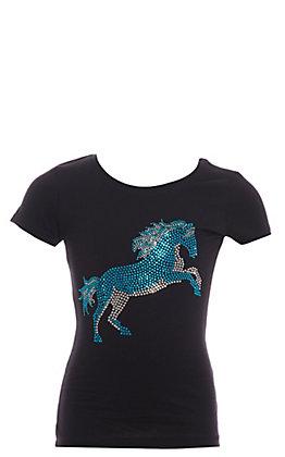 Cowgirl Hardware Girls' Black Crystal Horse Short Sleeve T-Shirt