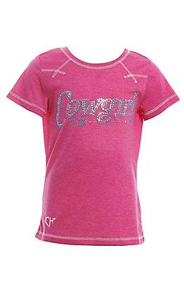 Cowgirl Hardware Girls' Pink Rhinestone Cowgirl Raglan T-Shirt