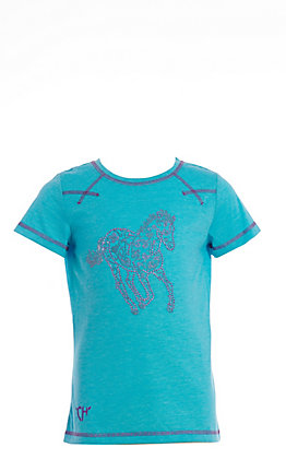 Cowgirl Hardware Girls' Turquoise with Pink Crystal Sugar Horse Short Sleeve Tee