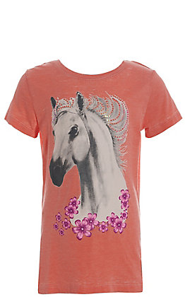 Cowgirl Hardware Peach with White Horse and Flowers Short Sleeve Tee