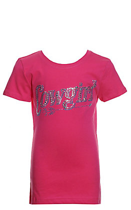 Cowgirl Hardware Girls' Pink Rhinestud Arrow Cowgirl Short Sleeve T-Shirt