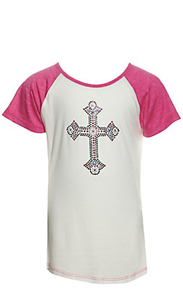 Cowgirl Hardware Girls' White with Rhinestud Cross and Pink Short Sleeves T-Shirt