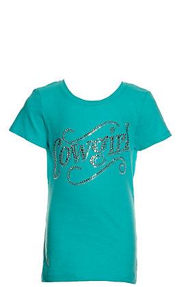 Cowgirl Hardware Girls' Turquoise Rhinestud Sassy Cowgirl Short Sleeve T-Shirt