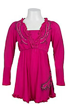 Cowgirl Hardware Girls Pink with Scatter Rhinestud Horse Long Sleeve Dress