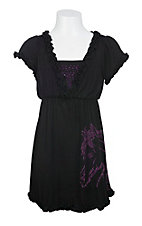 Cowgirl Hardware Girls Black with Purple Rhinestud Horse Short Sleeve Dress