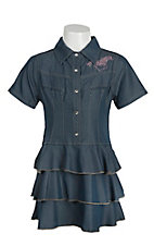 Cowgirl Hardware Girls Denim with Pink Rhinestud Horse Short Sleeve Ruffle Dress