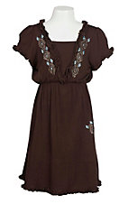 Cowgirl Hardware Girl's Brown with Studs and Ruffled Details Cap Sleeve A-Line Dress