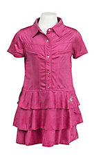 Cowgirl Hardware Girl's Pink Faux Suede Ruffled Bottom Cap Sleeve Dress