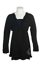 Cowgirl Hardware Girl's Black with Ruffled Details and Red and Silver Studded Horse Long Sleeve A-Line Dress