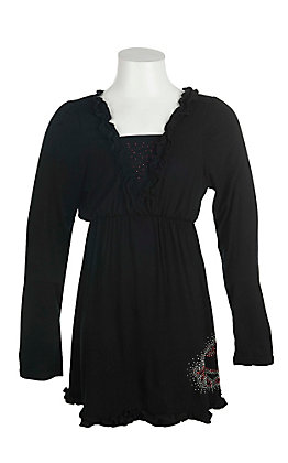 Cowgirl Hardware Girls' Black with Ruffled Details and Red and Silver Studded Horse Long Sleeve A-Line Dress
