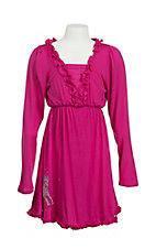 Cowgirl Hardware Girl's Pink with Ruffled Details and Blue and Silver Studded Horse Long Sleeve A-Line Dress