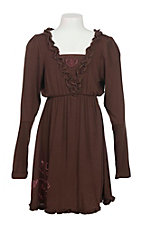 Cowgirl Hardware Girl's Brown with Ruffled Details and Pink Studded Horse Long Sleeve A-Line Dress