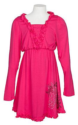Cowgirl Hardware Girls Pink Long Sleeve Ruffle Dress