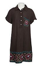 Cowgirl Hardware Girls Chocolate Southwest S/S Snap Dress