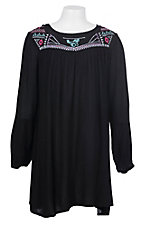 Cowgirl Hardware Girl's Black with Southwest Horse Embroidery Long Sleeve Dress