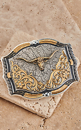 Montana Silversmiths Antiqued Silver and Gold Crackle Dirt Longhorn Rectangle Belt Buckle