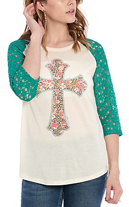 Southern Grace Women's Beige with Floral & Leopard Print Cross Casual Knit Top