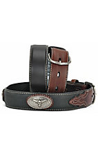 Nocona Kids Black & Brown Longhorn Concho belt