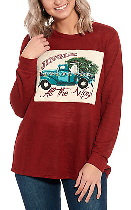 Southern Grace Red Jingle All the Way Graphic Long Sleeve Top