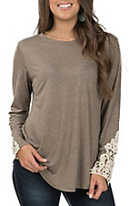 Grace & Emma Women's Taupe and Lace Casual Knit Top
