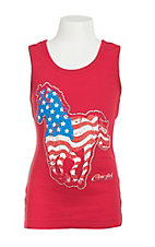 Cowgirl Hardware Girl's Red with Horse Shaped American Flag Sleeveless Tank Top