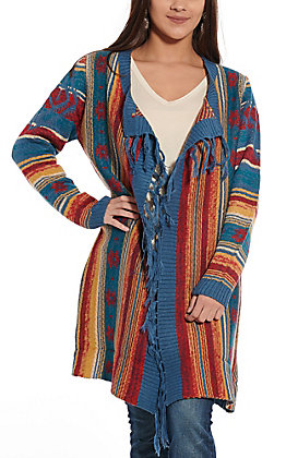 Magnolia Lane Women's Blue Multi Colored Fringe Cardigan
