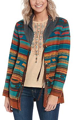 Rockin' C Women's Teal Aztec Print Sweater Cardigan