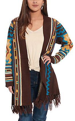 Magnolia Lane Women's Brown Aztec Fringe Cardigan