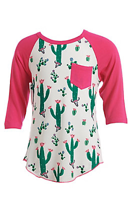 Cowgirl Hardware Girls Hot Pink Cactus Raglan T-Shirt